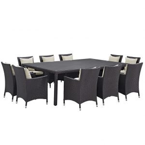 11 PIECE OUTDOOR PATIO WICKER RATTAN DINING SET IN ESPRESSO BEIGE