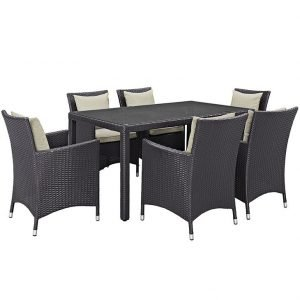 7 piece rattan dining set with beige cushions