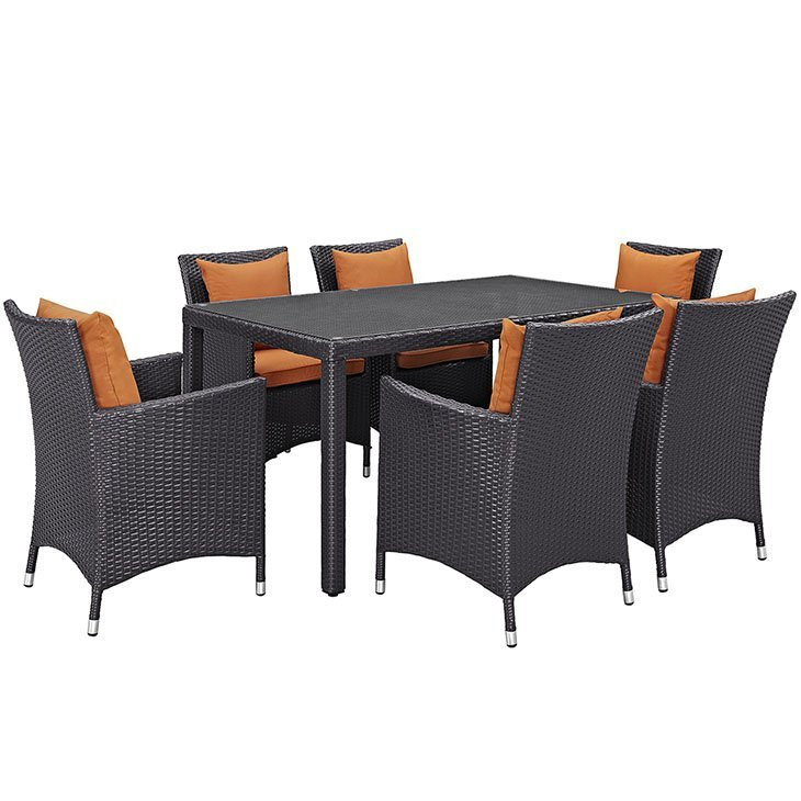 7 piece outdoor patio dining set orange