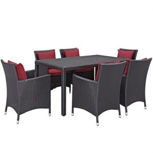 7 piece patio dining set red