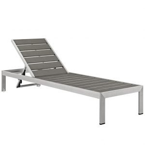 Outdoor Patio Aluminum Chaise in Silver Gray EEI-2247