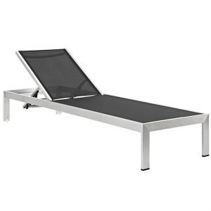 Outdoor Patio Aluminum Mesh Chaise in Silver Black EEI-2249