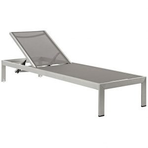 Outdoor Patio Aluminum Mesh Chaise in Silver Gray EEI-2249