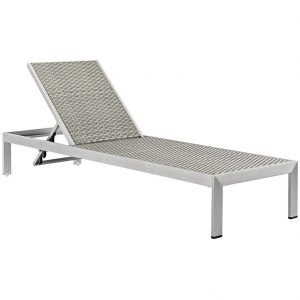 Outdoor Patio Aluminum Rattan Chaise in Silver Gray EEI-2250