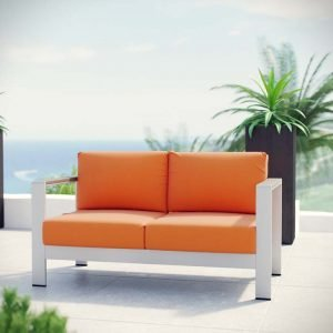 Modern patio bench alumium frame orange cushion