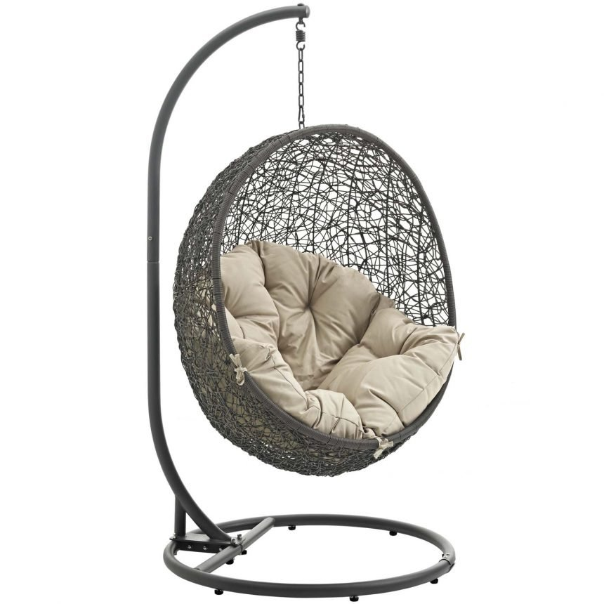 Hanging Chair with Stand Gray Beige