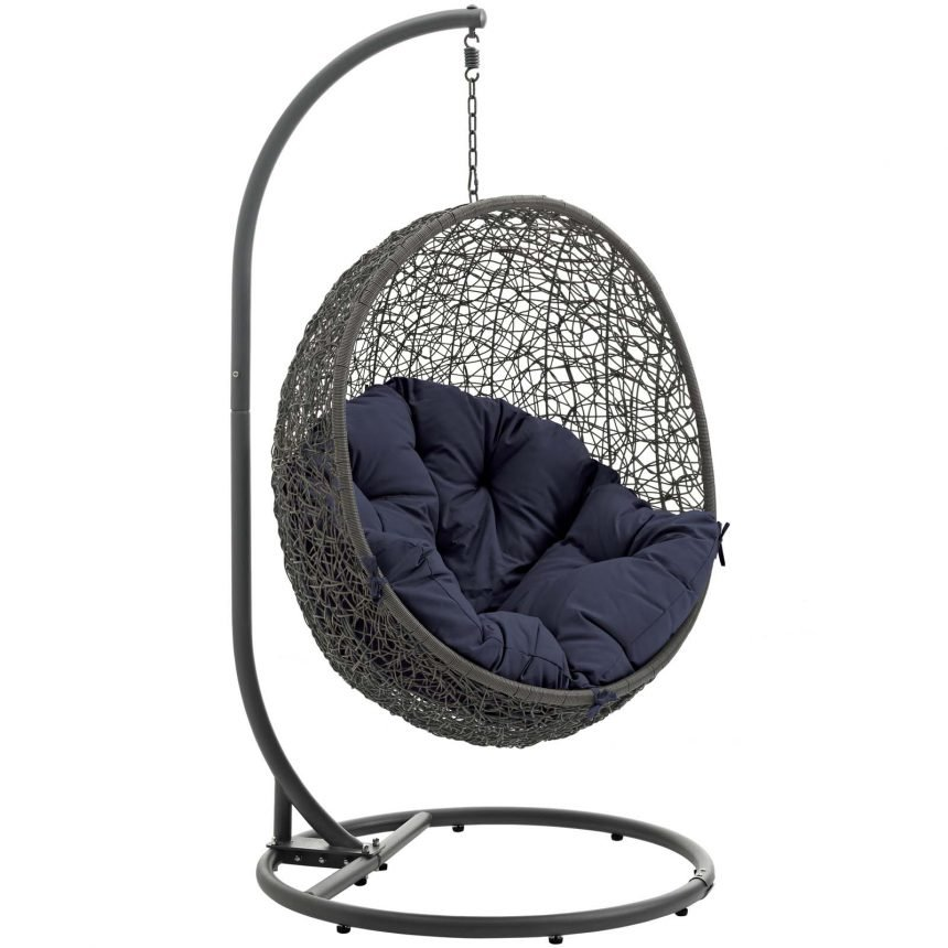 Hanging Chair with Stand Gray Navy