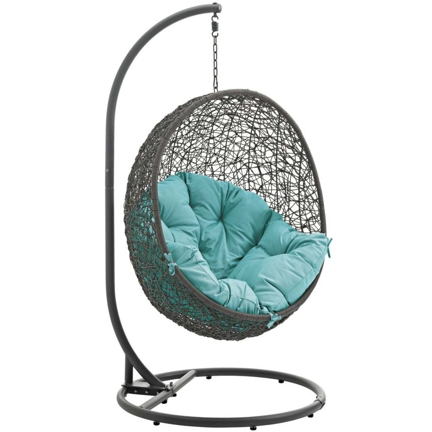 Hanging Chair with Stand Gray Turquoise