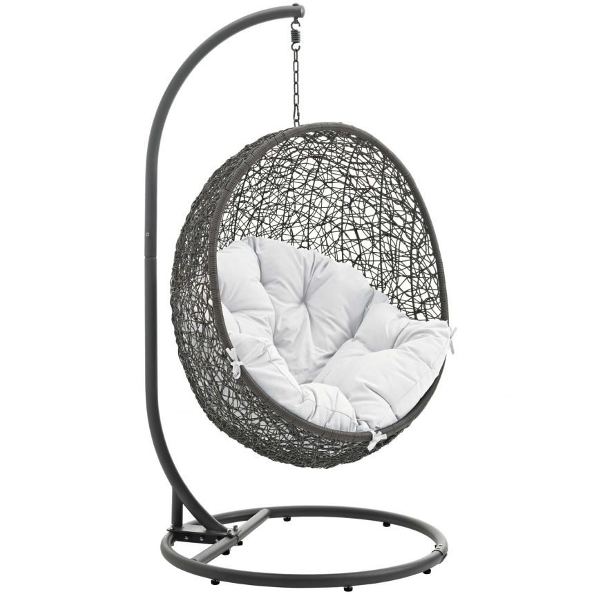 Hanging Chair with Stand Gray White