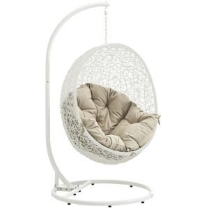 White with Beige cushion Outdoor swing chair with stand