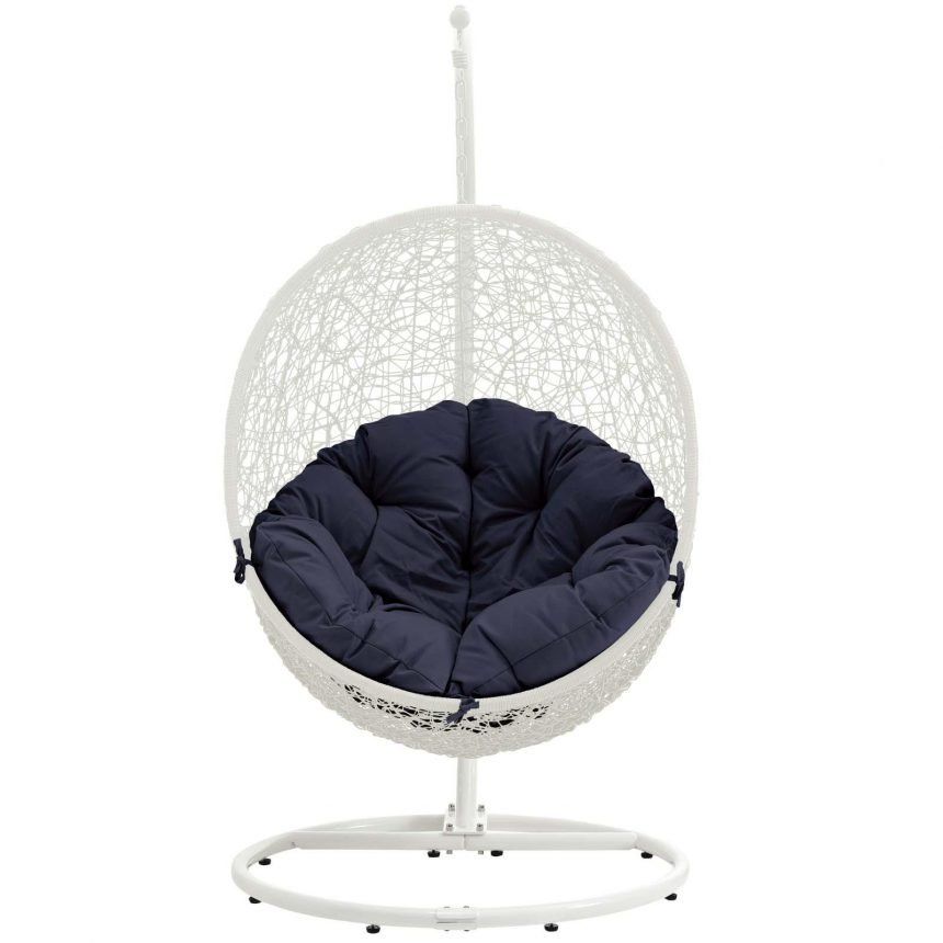 Outdoor Patio Swing Chair With Stand in White Navy EEI-2273