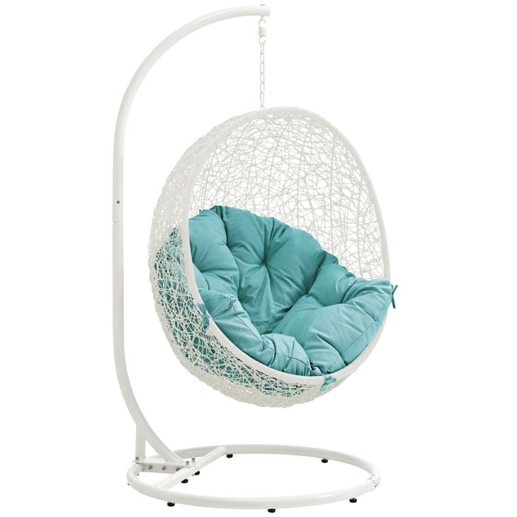 Swing Chair White and Turquoise