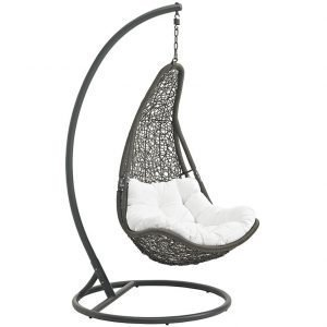 Outdoor Patio Swing Chair With Stand in Gray White EEI-2276