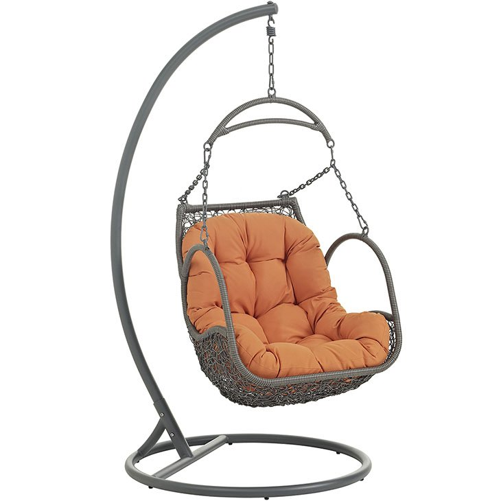 Outdoor Patio Wood Swing Chair in Orange EEI-2279