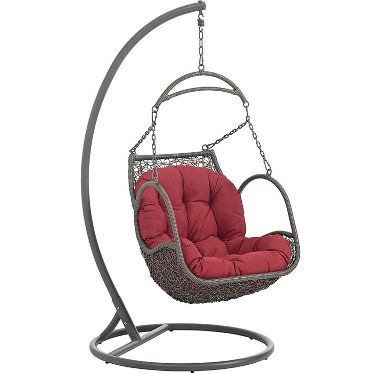 Outdoor Patio Wood Swing Chair in Red EEI-2279