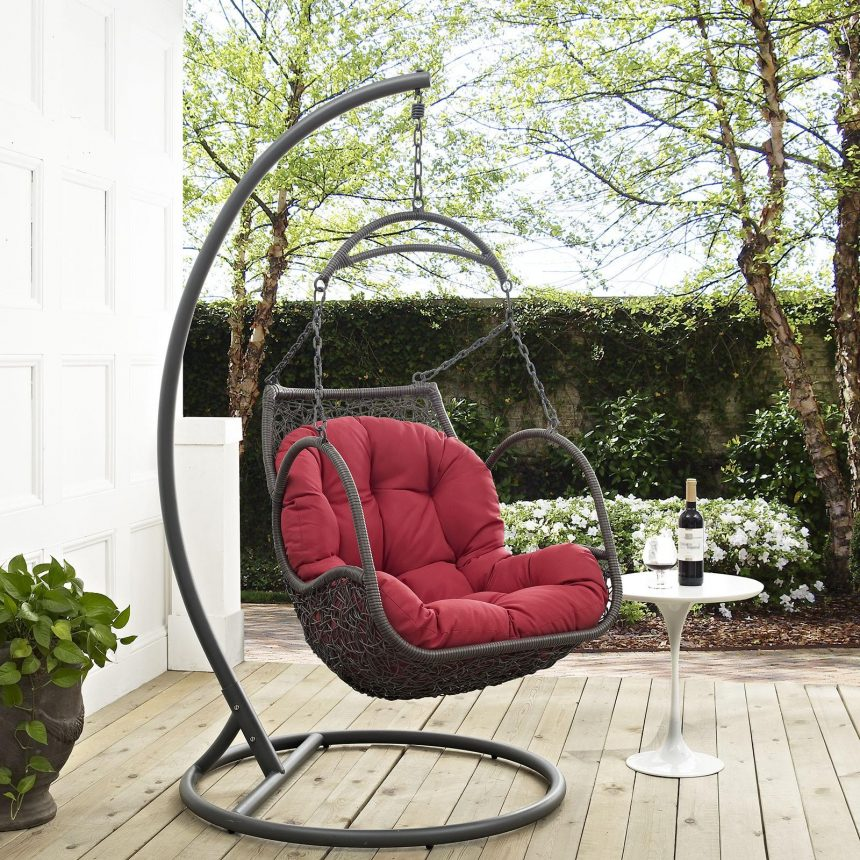 Outdoor Patio Swing Chair With Stand in Red EEI-2279