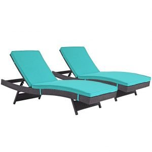 Rattan Chaise Lounge Set with Turquoise Cushions