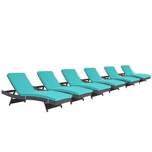 set of 6 chaise outdoor patio set espresso turquoise