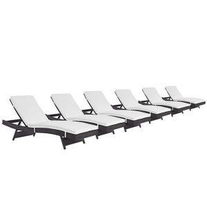 chaise outdoor patio set of 6 espresso white