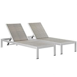 Chaise Outdoor Patio Aluminum Set of 2 in Silver Gray EEI-2477