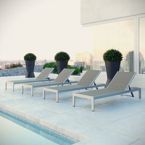 Chaise Outdoor Patio Aluminum Set of 4 EEI-2478