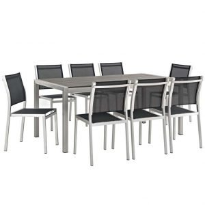 9 piece Aluminum Dining Set Silver and Black