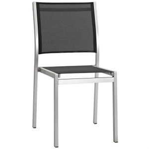 Aluminum Dining Chair Silver and Black