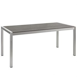Aluminum Dining Table Silver and Black