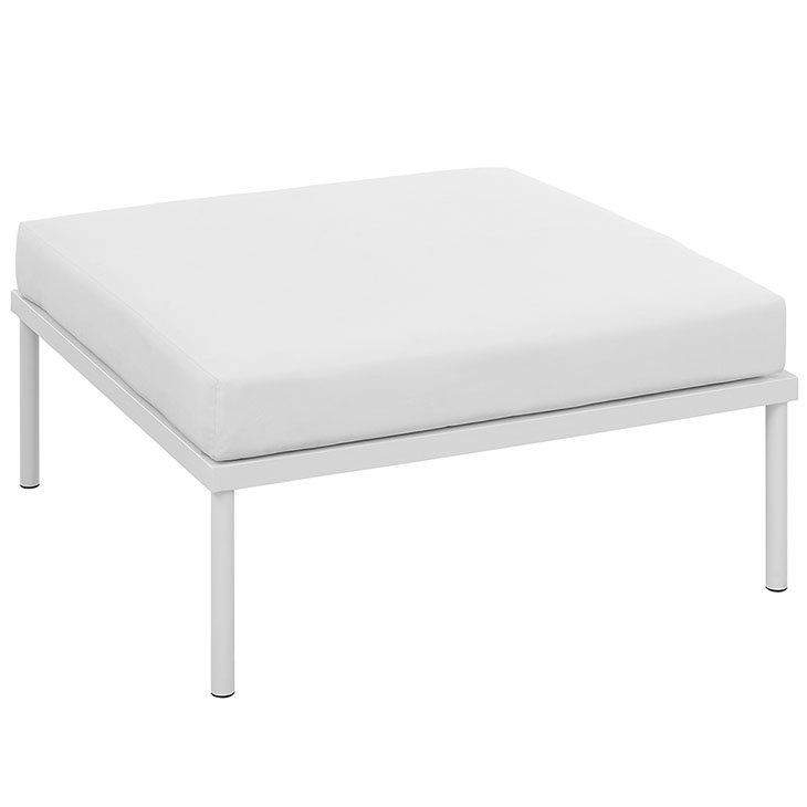 Aluminum Ottoman with White Cushion