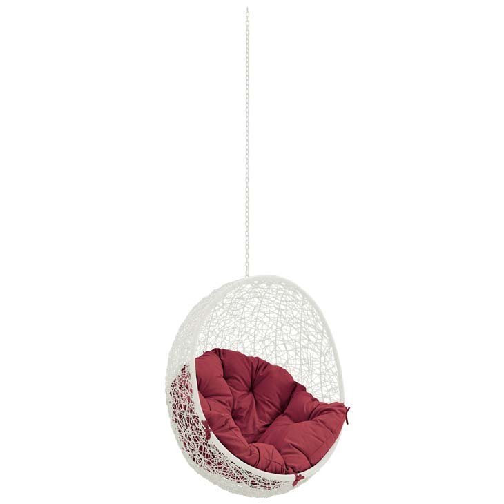 hanging chair, swing patio hanging chair white with red cushion