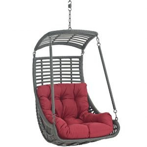Outdoor Hanging Chair with Red Cushion