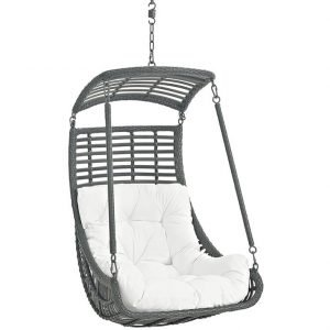 Patio Swing Chair with White Cushion