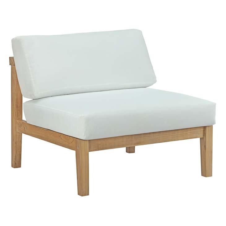 Teak Armless Chair with White Cushions