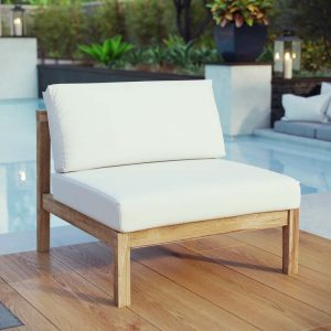 Teak Armless Chair with White Cushions