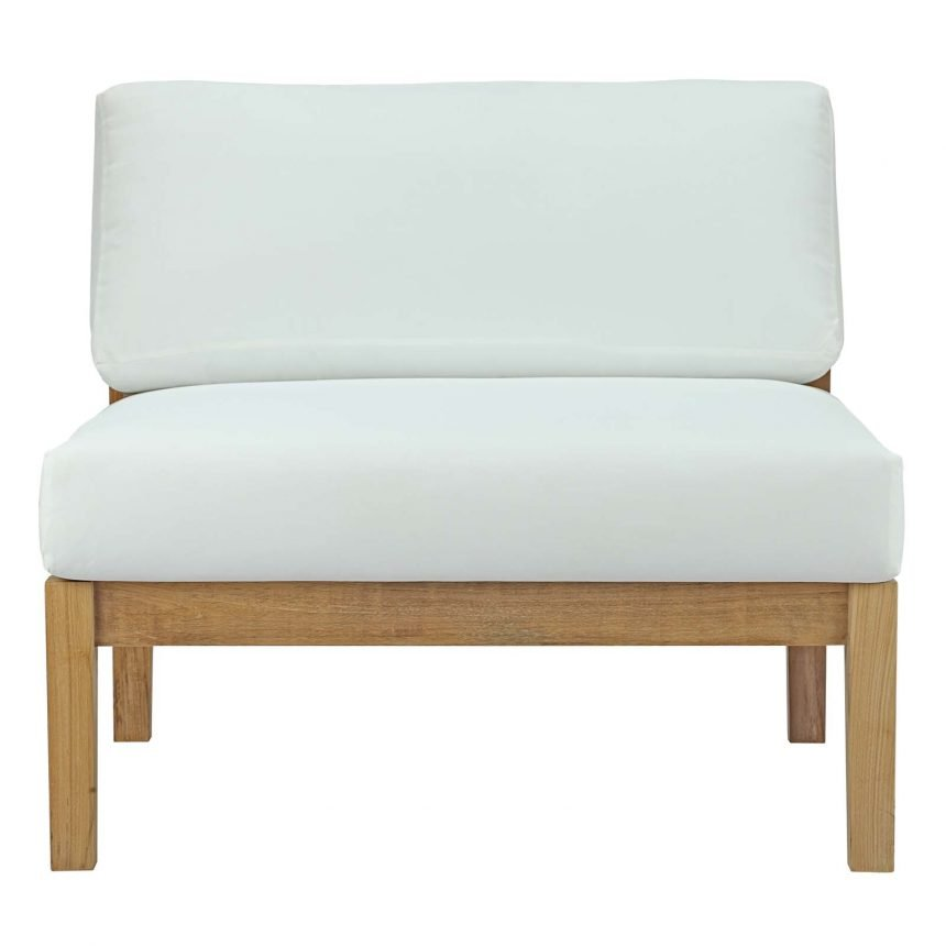 Outdoor Patio Teak Armless in Natural White-EEI-2697-NAT-WHI_Front