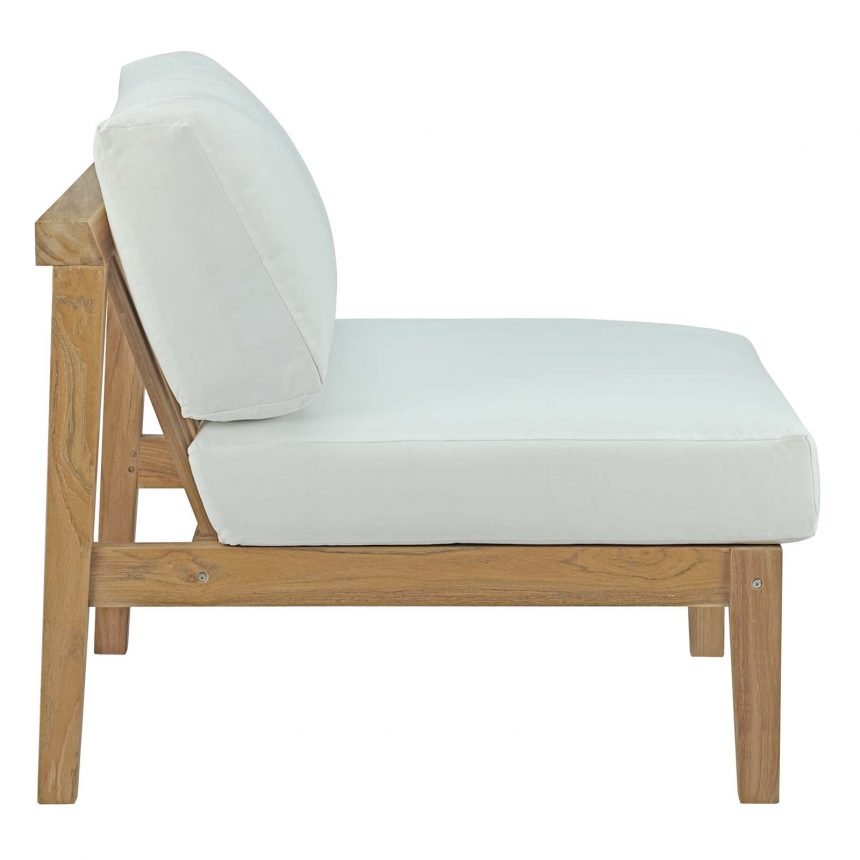Outdoor Patio Teak Armless in Natural White-EEI-2697-NAT-WHI_side