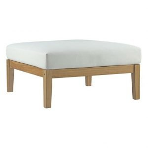 Teak Ottoman with white cushions