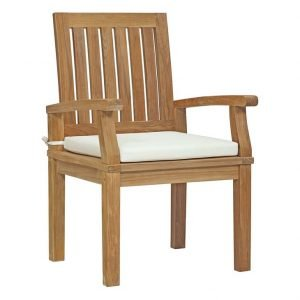 Teak dining chair with white cushion