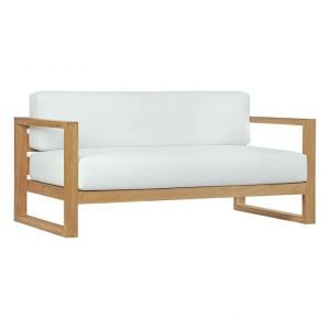 Teak Sofa with White Cushions