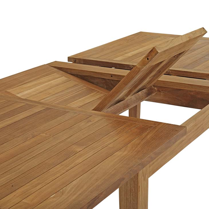 Extendable Teak Dining Table extends from 70.5 wide to 108.5 wide.