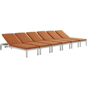 Aluminum patio chaise lounge orange.