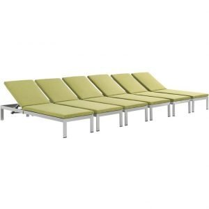 Aluminum patio chaise lounge set of 6 in green