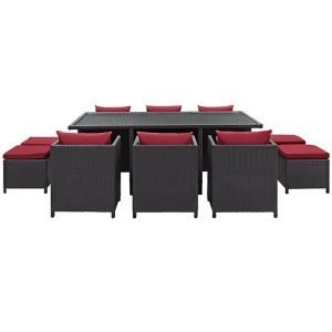 11 PIECE OUTDOOR PATIO WICKER RATTAN DINING SET IN ESPRESSO RED