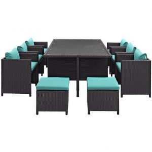 11 PIECE OUTDOOR PATIO WICKER RATTAN DINING SET IN ESPRESSO TURQUOISE