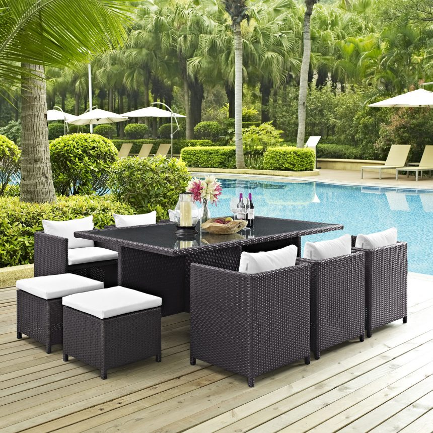 Outdoor Patio Dining Set in Espresso White-EEI-644-EXP-WHI-SET_Live