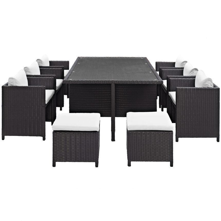 Outdoor Patio Dining Set in Espresso White-EEI-644-EXP-WHI-SET_back