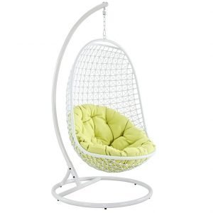 rattan, rattan chair, patio chair, outdoor swing, porch swing, hanging chair, swing outdoor patio fabric lounge chair in white with stand