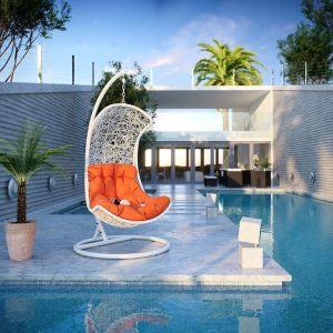 White Rattan Hanging Chair with Orange Cushion