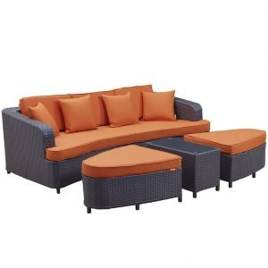 Rattan Patio Sofa set with orange cushions