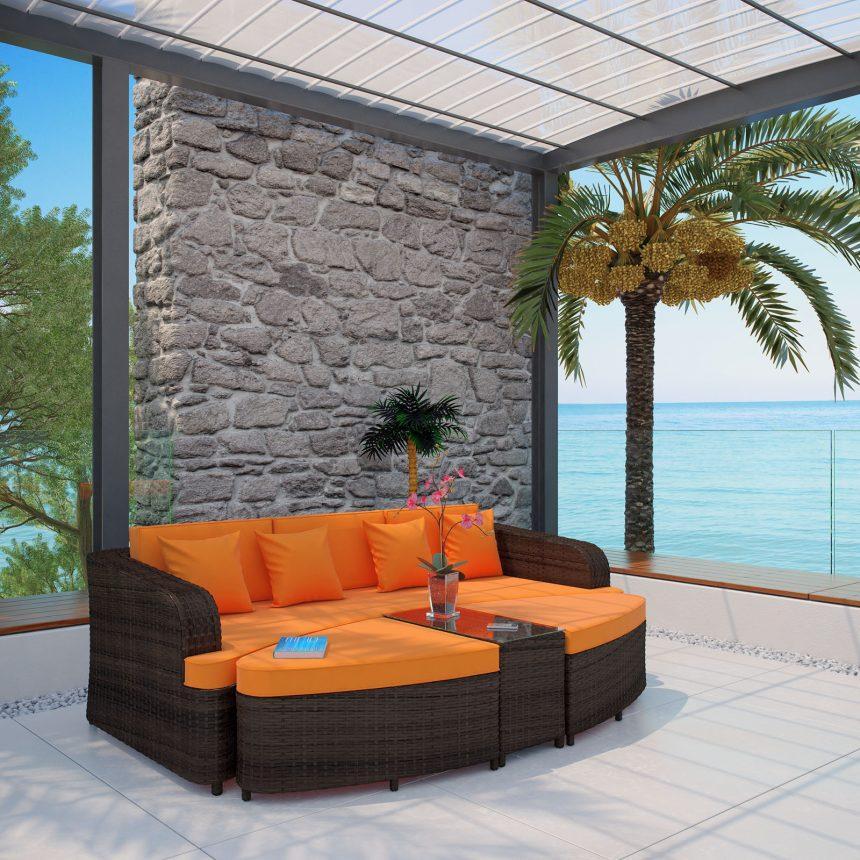 4 Piece Outdoor Patio Sofa Set in Brown Orange